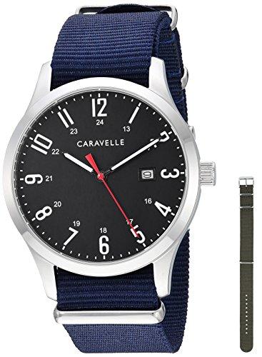 Caravelle - Reloj de Cuarzo para Hombre, Acero Inoxidable y Nailon, Color Azul (Modelo: 43B160)