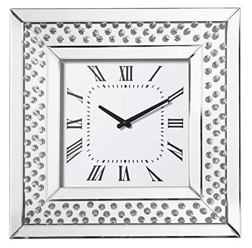 Möbelbörse Wanduhr mit Kristallsteinen Wohnzimmer Uhr Kristall Strass Spiegel Glitter Diamant Silber für Wohnzimmer, Schlafzimmer, Küche, Flur, Büro 50x50cm