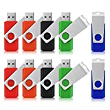 Memorias USB 4GB, TOPESEL Pendrives Flash USB Sticks 2.0 Flash Drives Llaves USB, Pack de 10 Unidades(5 Colores Rojo, Naranja, Negro, Verde, Azul)