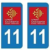 SupStick 2 STICKERS AUTOCOLLANT PLAQUE IMMATRICULATION DEPARTEMENT De l'Aude 11 REGION OCCITANIE