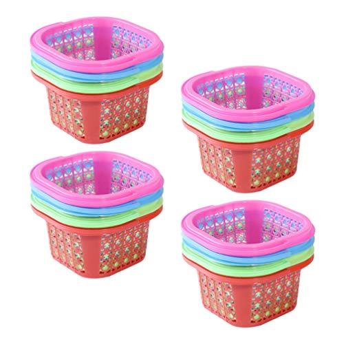 VALICLUD 12 Piezas de Plástico Cesta de Pascua Coloridos Huevos de Pascua Cuadrados Canasta de Caza Bandejas de Recolección de Frutas Huecas para El Festival Cocina en Casa