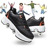 Ajustables Patines De Cuatro Ruedas Zapatos Deportivos para Adultos Patines De Ruedas Ninas Zapatos con Ruedas Zapatillas,Black Orange,40