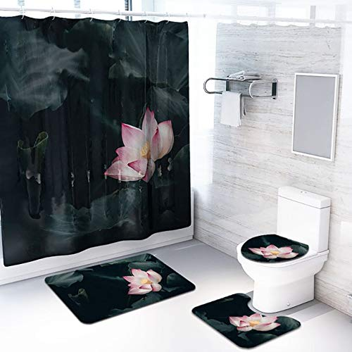 4PCS rutschfesteToilette Polyesterabdeckung Mat Set Bad Duschvorhang Mai # 24 - E, 4St