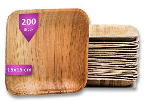 Waipur Platos Hoja de Palma Orgánicos – 200 Platos Biodegradables Desechables Cuadrados 15x15 cm - Vajilla Ecológica de Lujo, Estable, Natural y Compostable - Platos de Fiesta – Platos Ecológicos