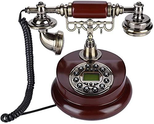 Teléfono antiguo Teléfono Estilo europeo Decoración con cable Teléfono de teléfono fijo, FSK / DTMF Teléfono de vendimia retro con estera antideslizante, teléfono con cable con teléfono con función de