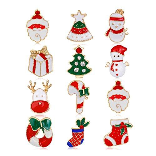 12Weihnachtsbaum/Elch/Santa Claus/Schneemann/Socke Stil Brosche Pin Jewelry Weihnachts Geschenk