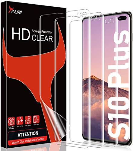 TAURI 3 Pack Protector de Pantalla para Samsung Galaxy S10 Plus HD Screen TPU Protector Anti-Oil y Anti-Huellas Doble Protección alineación Instalación fácil Sin Burbujas