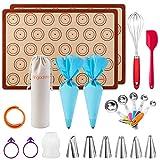 Macaron Kit Silicone Baking Mat - (22pcs Set), Macaron silicone mat baking set, Macaroon Piping Bag...