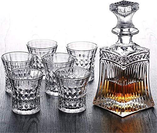 DYB Decantador de whisky con tapón y 6 cócteles para copas, whisky irlandés, coñac, brandy, mezcladores, mezclas, cócteles