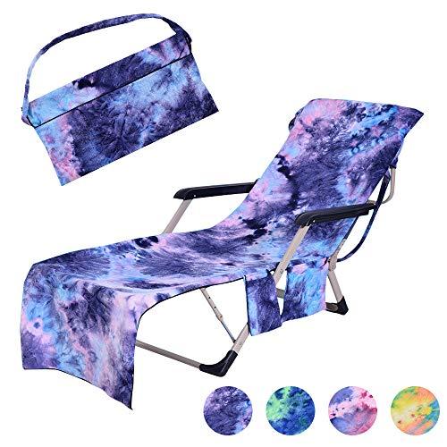 Topchances Strandstuhl-Abdeckung, tragbar, Mikrofaser, Pool-Lounge-Stuhl-Bezug mit Seitentaschen, Chaise-Strandliege, Handtuch für Urlaub, Sonnenbad, Sonnenliege, 74,9 x 21,6 cm blau