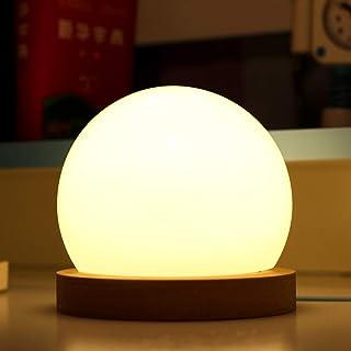 BLOOMWIN Lámpara de Mesa Lámpara de Mesilla de Noche Led Regulable Luz Nocturna Bola para Dormitorio Bebé Niños Escritorio Oficina Decoración Atmósfera Cargador USB Brillo y Color Ajustable