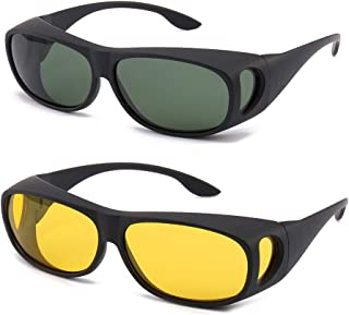 Sponsored Ad - HD Night Day Driving Wrap Around Prescription Glasses Anti Glare Sunglasses with Polarized Lens for Man and...