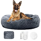Zippered Calming Dog Bed with Removable Cover Fluffy Large Dog Bed Anti-Anxiety Dog Bed Donut Dog Bed Faux Fur Dog Bed Cuddler Dog Bed Bean Bag Calming Pet Bed for Dogs Furry Dog Bed 40' Steelgrey