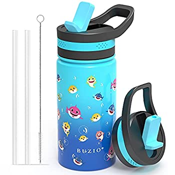 Insulated Water Bottle with Straw Lid BUZIO Vacuum Double Walled Stainless Steel Wide Mouth Sports Drink Flask Tumbler Travel Cup for Kids Simple Thermo Canteen Mug Cup with Blue Shark