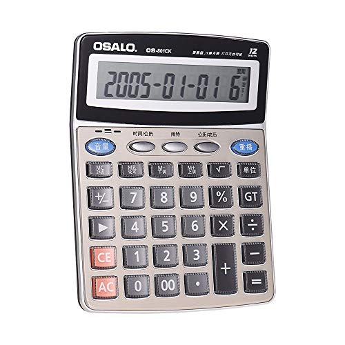 OS-801CK Multi-Function Musical Electronic Desktop Calculator Counter 12-Digits LCD Display with Alarm Clock Calendar Voice Reading Functions Can Play Piano