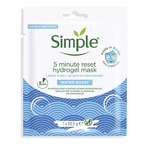 simple Mascarilla Facial Hidrogel - Water Boost 5 Minutoss, Blanco