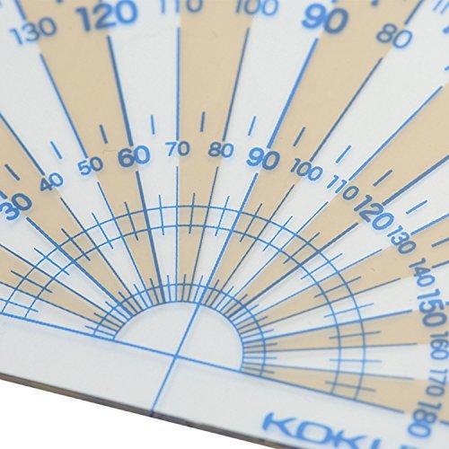 コクヨ分度器まなびすと再生PET樹脂製90x50mm半円GY-GBA310