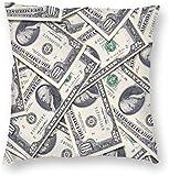 Fundas de Almohada Suaves y acogedoras con Cremallera Oculta, Funda de Almohada Cuadrada Decorativa de Billetes de dólares estadounidenses para Dormitorio, Sala de Estar, sofá, sofá y Cama, 18 'x 18'