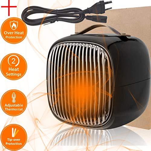 ESHOWEE Mini Keramik Heizlüfter, 800W Energiesparend Elektrisch Heizung Schnellheizer, 3 Modi Wärmer Maschine mit Oszillierend, Überhitzungs und Umkippschutz für Wohnzimmer, Büro, Badezimmer, Schwarz
