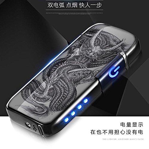 Aibote Dual Arc Plasma Feuerzeug Elektrische Metall Flammenlose Winddichte USB Wiederaufladbare Feuerzeuge mit LED-Stromanzeige, Berührungssensor Schalter