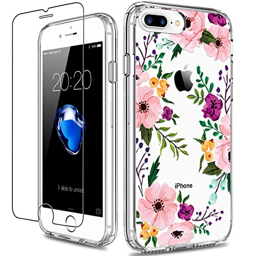 GiiKa iPhone 8 Plus Case, iPhone 7 Plus Case with Screen Protector, Clear Heavy Duty Protective Case Floral Girls Women Hard PC Case with TPU Bumper...