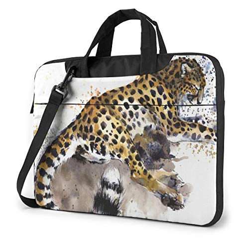 Animal Cheetah Watercolor Leopard 15.6' Laptop Case Sleeve Briefcase Computer Shoulder Bag W/Strap