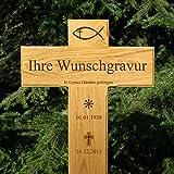 LASERfein Grabkreuz, Holzkreuz, Straßenkreuz, inklusive edler Gravur Beschriftung, 80x40cm