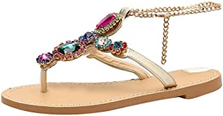 Women Open Toe Bohemia Crystal Sandals ❀ Ladies Rhinestones Chains Gladiator Flat Flip Flops Shoes Sandals