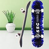 Aceshion Skateboards Adulto 70 x 20 cm Madera de arce para adolescentes doble trucos Pro Tabla de skate completa para principiantes niñas niños (azul)