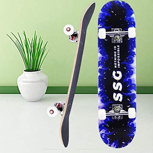 Aceshion Skateboard für Erwachsene 80,6 x 20 cm, Ahornholz, für Jugendliche, Doppeltricks, Profi-Ausführung, komplettes Skateboard für Anfänger, Mädchen und Jungen, blau