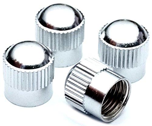 PRESKIN Ventilkappen, 4 x Groove Auto-Ventilkappe aus Messing + Chrom, Ventildeckel, für Reifenventile