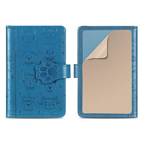 Suhctup Flip Card Holder ID/Stick-on Wallet de Piel Lindo Dibujos con Soporte para teléfono & Cierre Magnético & Ranuras para Tarjetas Billetero PU Adhesive 3M Mini Bolsa Adjunto para Celular(Azul)