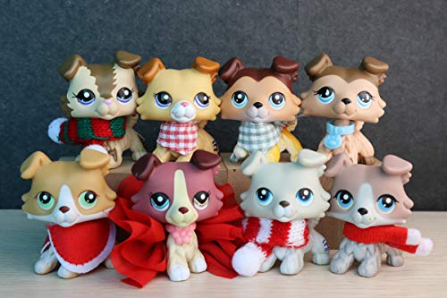 KK lps Collie Family 8pcs, lps Collie 2452 1542 2210 893 1262 363 58 67 with Christmas lps Accessories Outfit Collectable Figures Kids Gift