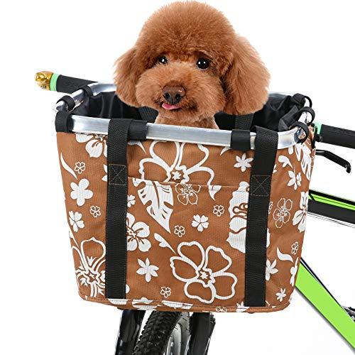 Baugger ハンドルバーバスケット、折りたたみ自転車バスケットフラワープリント小型ペット猫犬キャリアバッグ取り外し可能な自転車ハンドルバーフロントバスケットサイクリングフロントバッグハンドバッグ、自転車バスケット