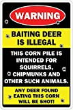 New Vintage Retro Metal Tin Sign Warning baiting Deer is Illegal Outdoor Street & Home bar Kitchen Hotel Wall Decoration Signs 16x12 inch