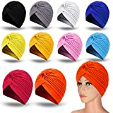 10 Pieces Stretch Polyester Turbans Head Bennie Cover India's Hat Twisted Headwrap (Light Colors)