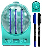 VISUALIZE The Original TRI-LINE Golf Ball Marker Kit - (2-Pack) 3-Line Golf Ball Line Marker- Golf Ball Marker Stencil - 2 Ball Markers + 2 Pens (Fine & Medium Tips)