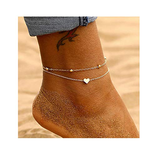 choice of all Gold Anklet Bracelet for Women Heart Ankle Chain Foot Jewelry (D:gold 2 layer)