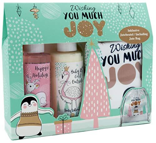Badeset JOY - Bodylotion Duschgel und Jutebeutel Winter Weihnachten Pinguin Flamingo Rentier