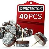 Nail on Felt Pads X-PROTECTOR - 40 Felt Furniture Pads – Felt Chair Pads for Hardwood Floors - Floor Protectors for...