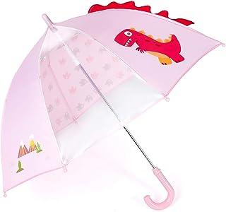 キッズ傘 55cm 子供用 恐竜ジャンプ傘 グラスファイバー ドロップパレード柄 (ピンク)