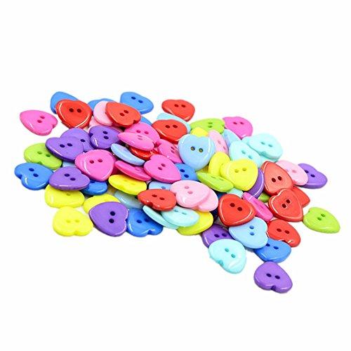 Da.Wa 100 botones de plástico con 2 agujeros, botones para camisa, bonitos botones en forma de corazón, para manualidades, tejer, ropa de bebé, color aleatorio 14-15 mm