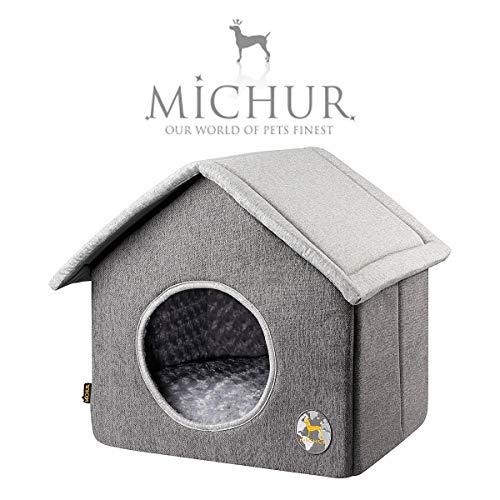 Michur Katzenhaus & Hundehaus Maxima, Hundehütte, waschbare Kuschelhöhle für Katzen und Hunde in edlem grau, mit beidseitig anwendbarem Kissen, für kleine Hunde und Katzen, Länge: 42cm x Breite: 43cm