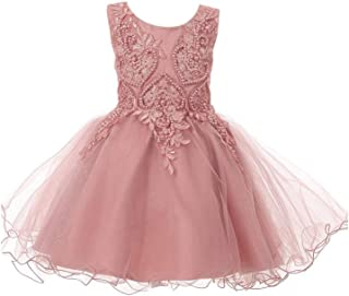 2f6a9fd391 Baby Girls Dusty Rose Glitter Tulle Pearls Lace Easter Flower Girl Dress  3-24M