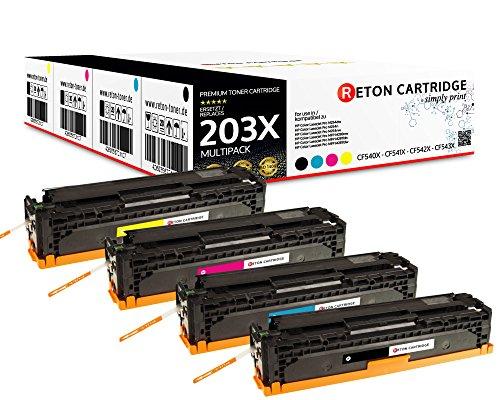 4 Original Reton Toner  40% höhere Druckleistung   kompatibel zu HP 203X, CF540X, CF541X, CF542X, CF543X für HP Color Laserjet Pro M281fdw, Pro M280nw, Pro M281fdn, Pro M254nw,Pro M254dw, Pro M254n