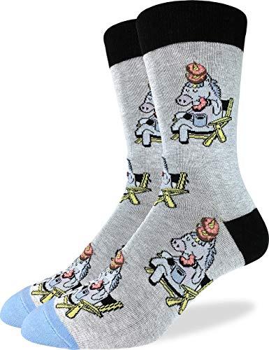 Good Luck Sock - Calcetines para hombre, diseño de Donut Eating Unicornio, color gris, talla de zapato 7-12