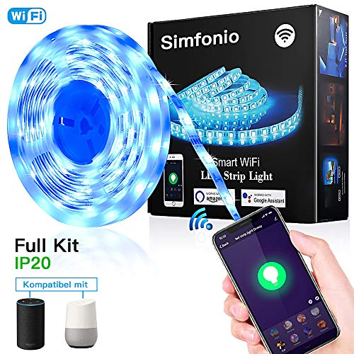 Simfonio Smart LED Streifen 5M - WIFI LED Lichterkette steuerbar via APP,Stimme - LED Leiste 5m 5050SMD 150LED RGB LED Strip Full Kit - LED Band LED Stripes mit Netzteil