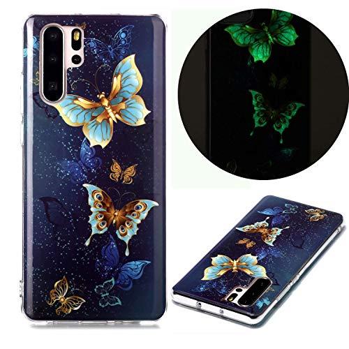 Miagon Leuchtend Luminous Hülle für Huawei P30 Pro,Fluoreszierend Licht im Dunkeln Handyhülle Silikon Case Handytasche Stoßfest Schutzhülle,Gold Schmetterling