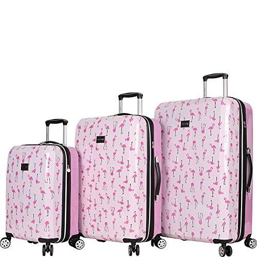 Betsey Johnson Luggage Hardside 3 Piece Set Suitcase With Spinner Wheels (20' 26' 30') (One Size, Flamingo Strut)