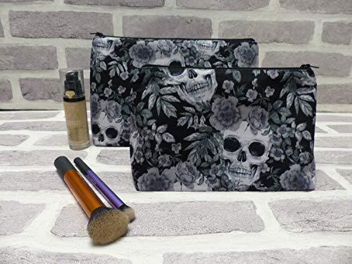 Juego de 2 bolsas de maquillaje de calavera pequeñas y grandes, bolsa de maquillaje de cráneo, bolsa de lavado de calavera, pequeña y grande, regalo gótico de San Valentín, regalo para ella, esqueleto